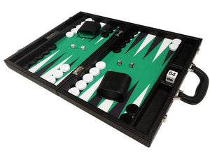16-inch Premium Backgammon Set - Black Board with White and Black Points