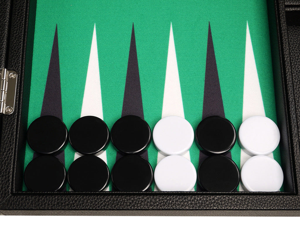 16-inch Premium Backgammon Set - Black with White and Black Points - GBP - American-Wholesaler Inc.