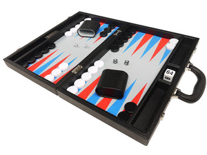 16-inch Premium Backgammon Set - Black with Scarlet Red and Patriot Blue Points - EUR
