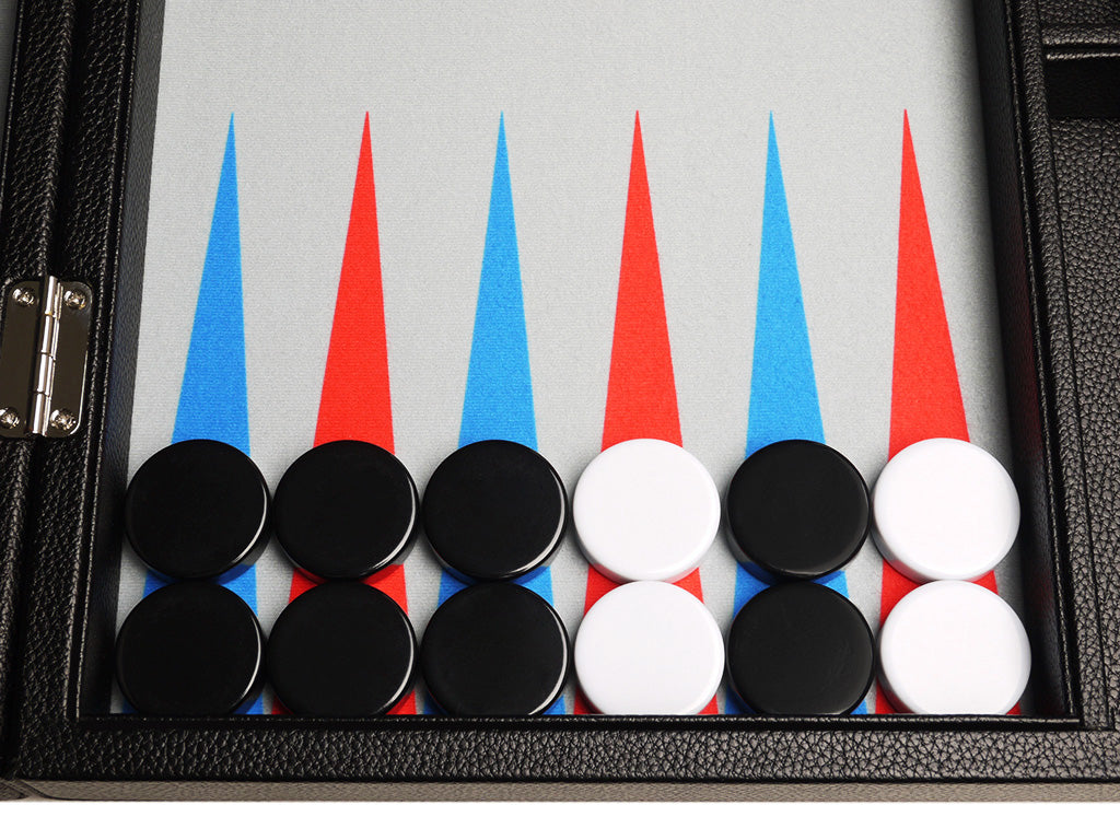16-inch Premium Backgammon Set - Black with Scarlet Red and Patriot Blue Points - EUR - American-Wholesaler Inc.