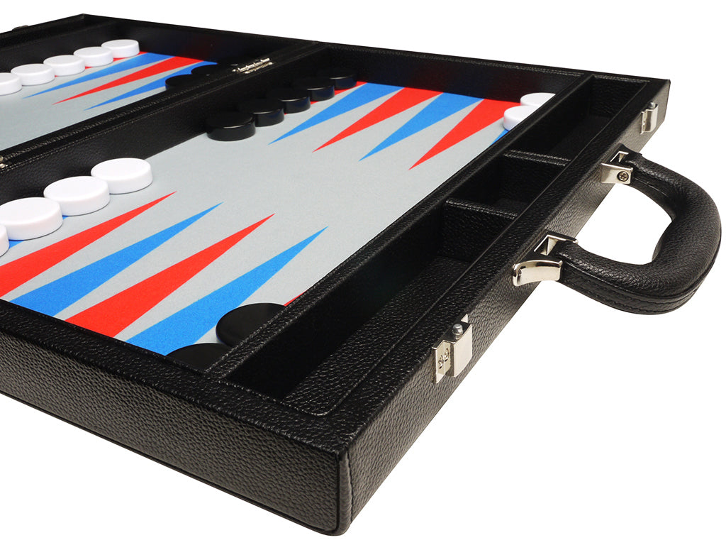 16-inch Premium Backgammon Set - Black with Scarlet Red and Patriot Blue Points - American-Wholesaler Inc.