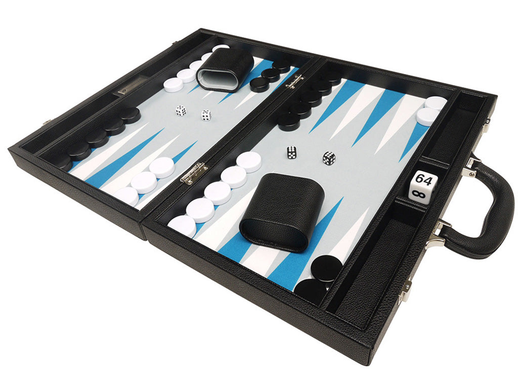 16-inch Premium Backgammon Set - Black with White and Astral Blue Points - GBP - American-Wholesaler Inc.