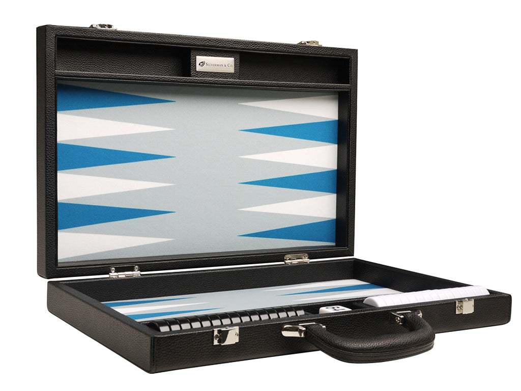 16-inch Premium Backgammon Set - Black with White and Astral Blue Points - American-Wholesaler Inc.