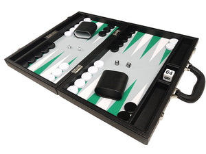 16-inch Premium Backgammon Set - Black with White and Green Points - EUR