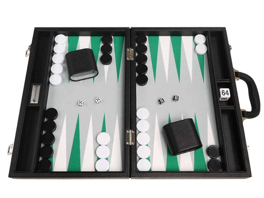 16-inch Premium Backgammon Set - Black Board with White and Green Points
