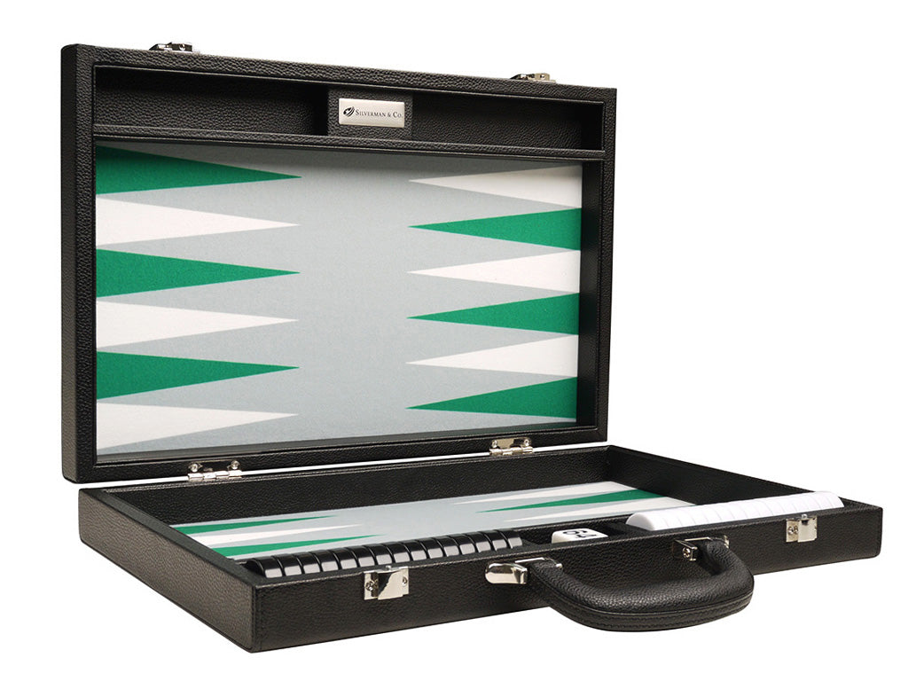 16-inch Premium Backgammon Set - Black with White and Green Points - GBP - American-Wholesaler Inc.