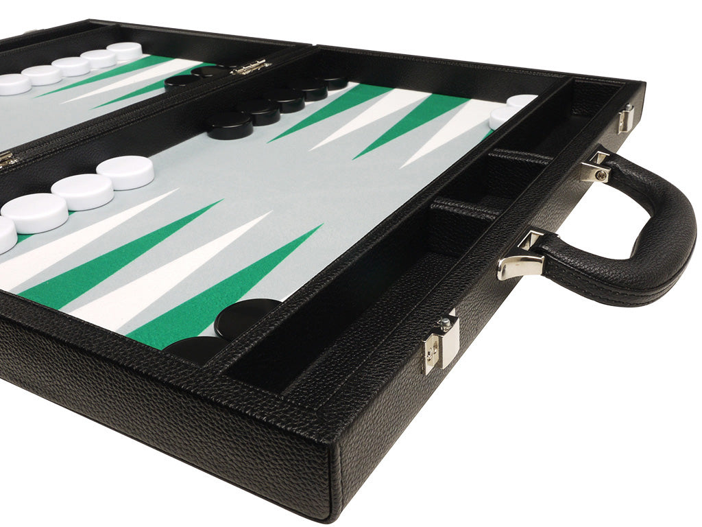 16-inch Premium Backgammon Set - Black with White and Green Points - EUR - American-Wholesaler Inc.