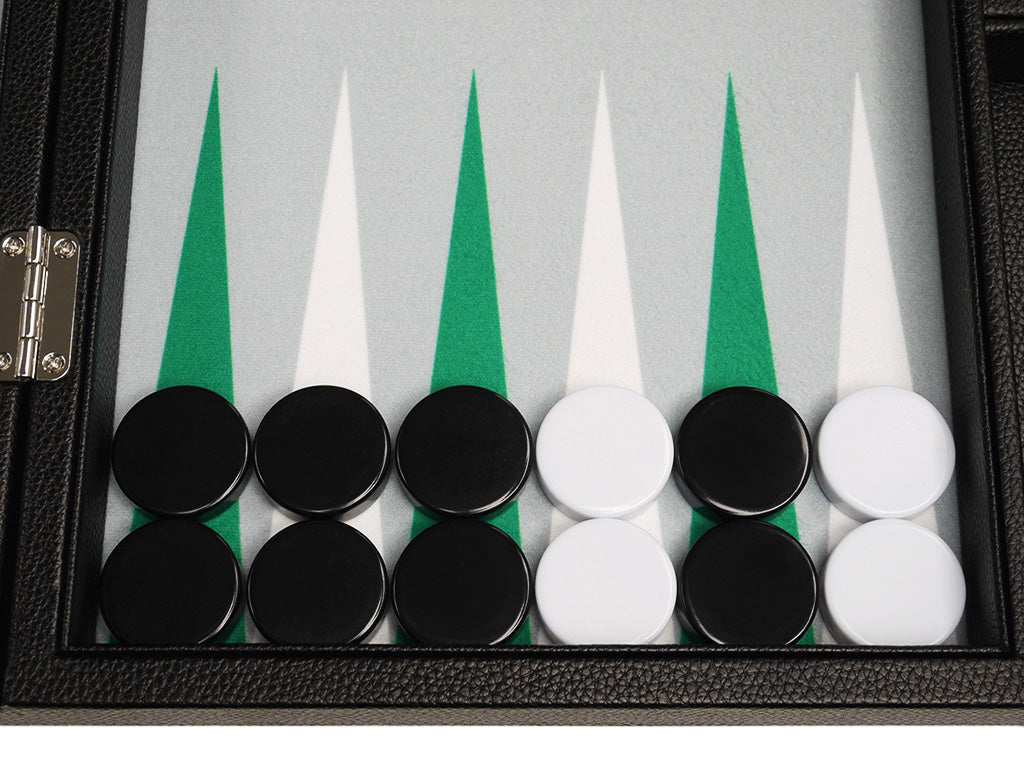 16-inch Premium Backgammon Set - Black Board with White and Green Points - American-Wholesaler Inc.