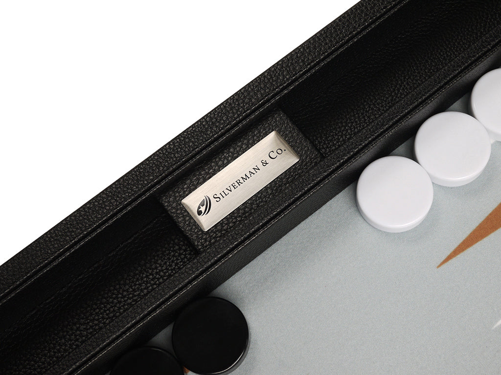 16-inch Premium Backgammon Set - Black with White and Rum Points - EUR - American-Wholesaler Inc.