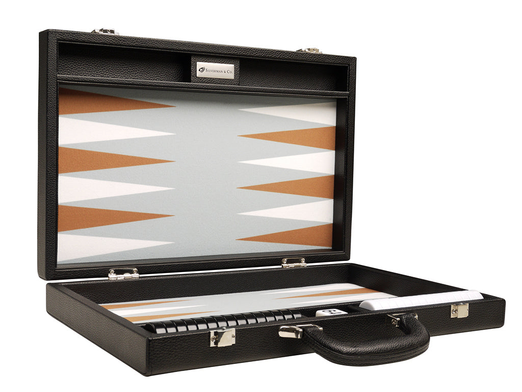 16-inch Premium Backgammon Set - Black with White and Rum Points - American-Wholesaler Inc.