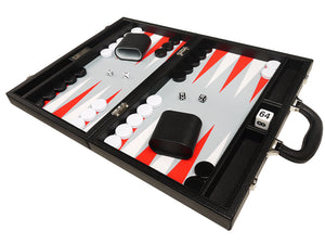 Set de Backgammon Premium 40 x 53 cm - Noir avec points blancs et rouges écarlates