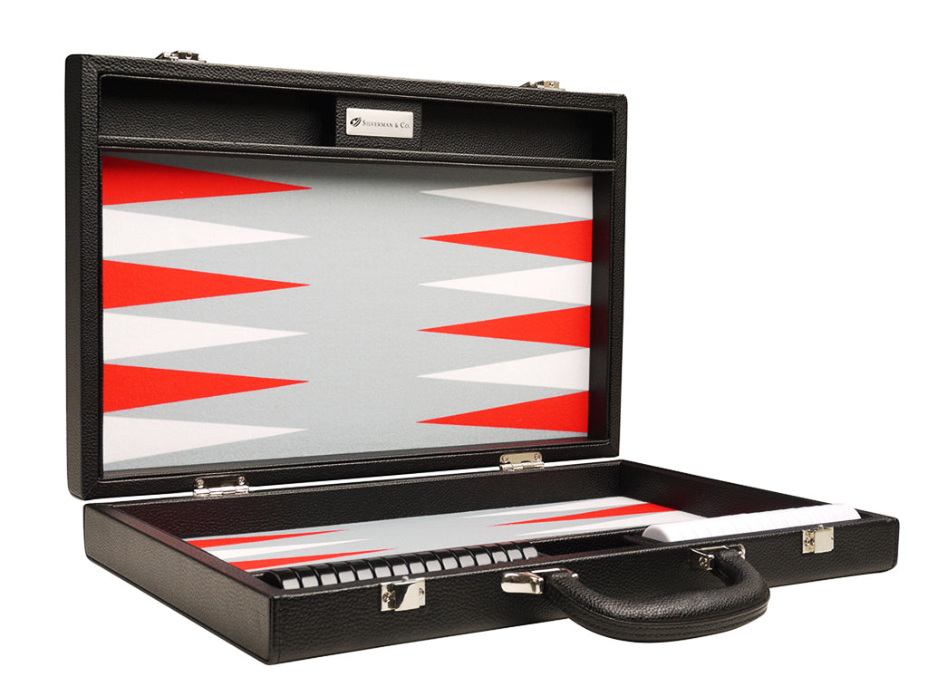 16-inch Premium Backgammon Set - Black with White and Scarlet Red Points - EUR - American-Wholesaler Inc.