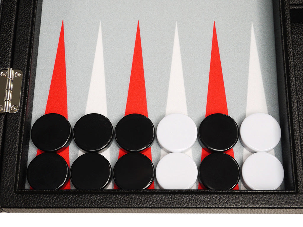 16-inch Premium Backgammon Set - Black with White and Scarlet Red Points - GBP - American-Wholesaler Inc.