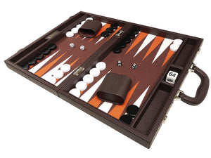 40 x 53 cm Premium Backgammon Set - Donkerbruin