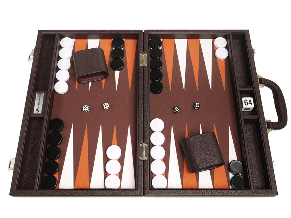 16-inch Premium Backgammon Set - Dark Brown - EUR - American-Wholesaler Inc.