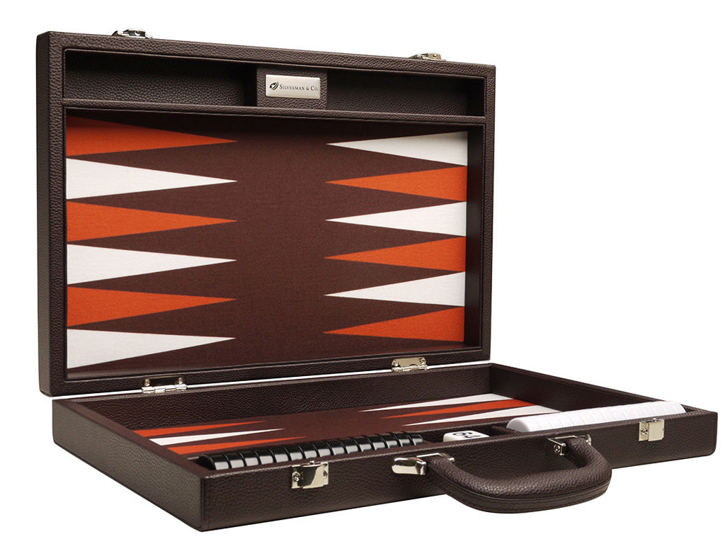 16-inch Premium Backgammon Set - Dark Brown - American-Wholesaler Inc.