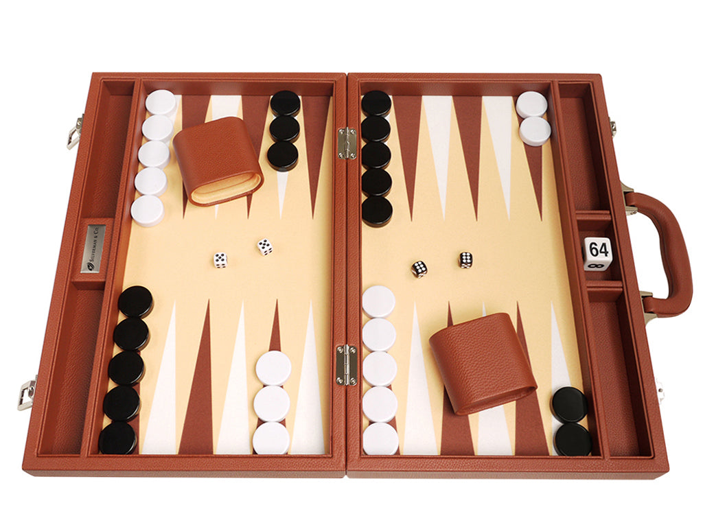16-inch Premium Backgammon Set - Desert Brown - GBP - American-Wholesaler Inc.
