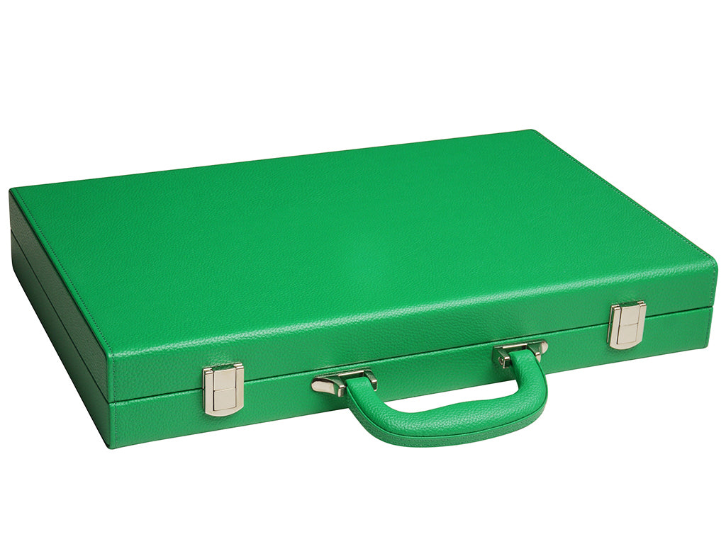 16-inch Premium Backgammon Set - Green - Closed Case