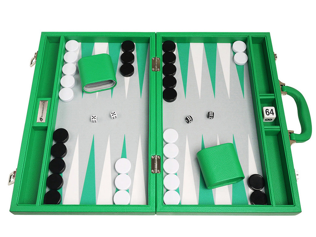 16-inch Premium Backgammon Set - Green - Open Board
