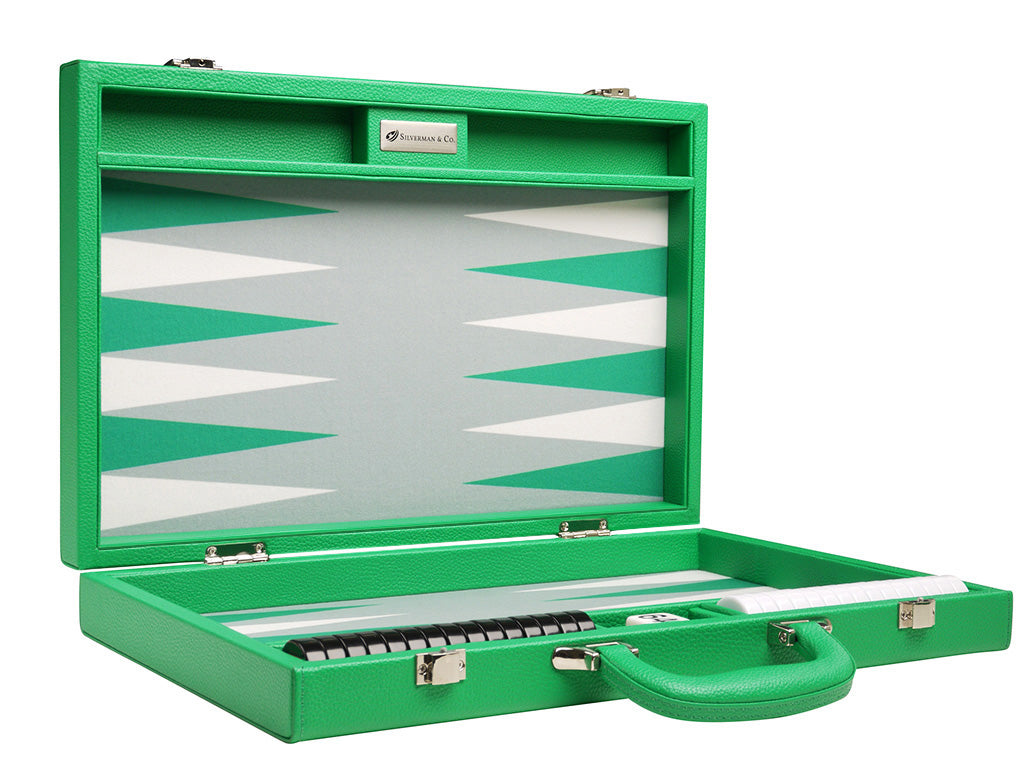 16-inch Premium Backgammon Set - Green - Attache Case