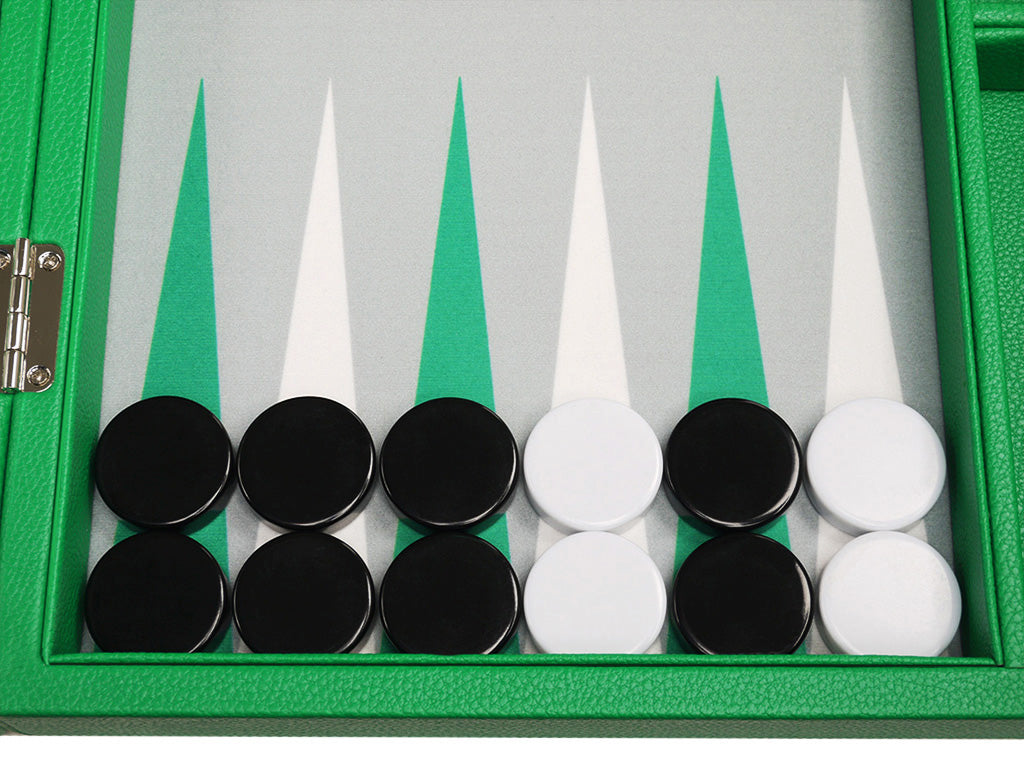 16-inch Premium Backgammon Set - Green - Checkers, Accessories