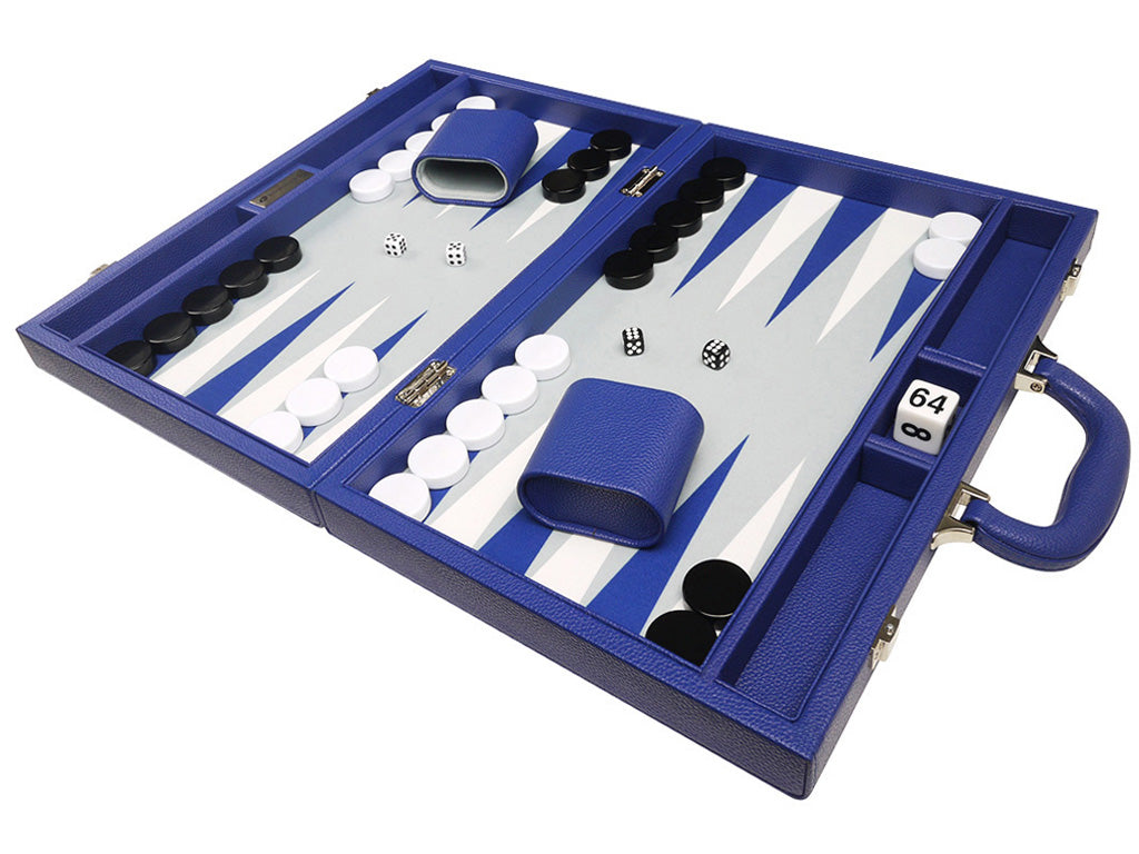 16-inch Premium Backgammon Set - Indigo Blue - EUR - American-Wholesaler Inc.
