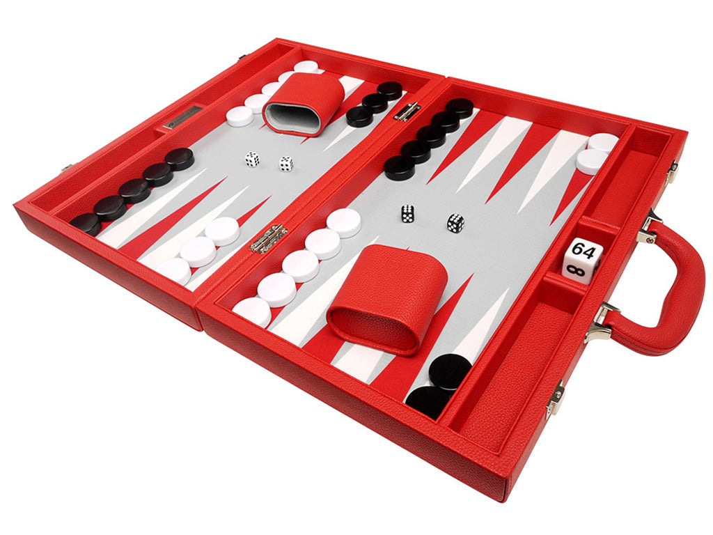 16-inch Premium Backgammon Set - Red - GBP - American-Wholesaler Inc.