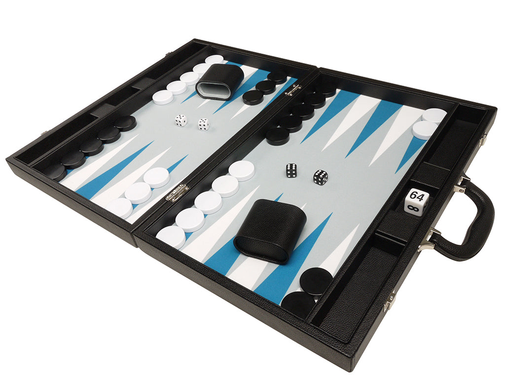 19-inch Premium Backgammon Set - Black Board with White and Astral Blue Points - EUR - American-Wholesaler Inc.