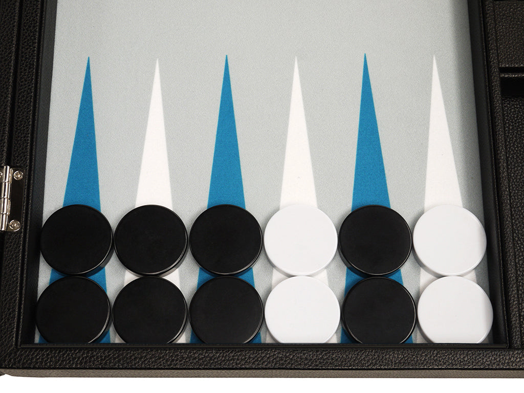 19-inch Premium Backgammon Set - Black Board with White and Astral Blue Points - American-Wholesaler Inc.