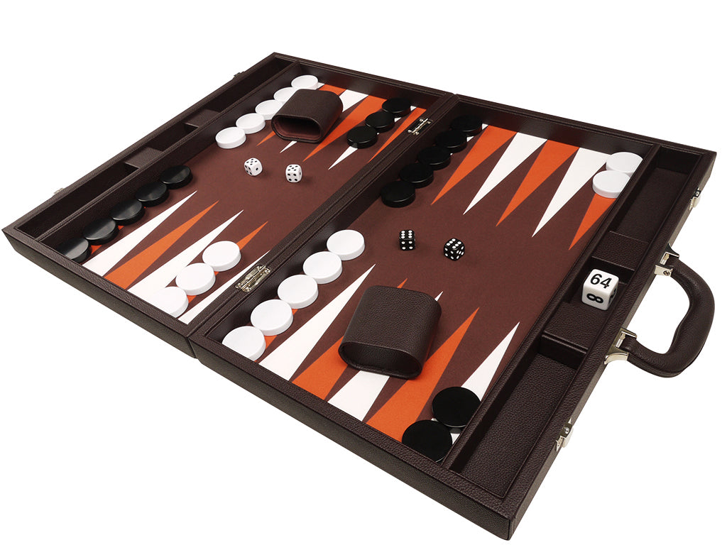 19-inch Premium Backgammon Set - Dark Brown - American-Wholesaler Inc.