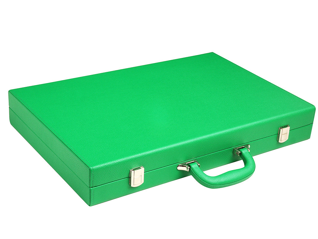 19-inch Premium Backgammon Set - Green - Closed leatherette case