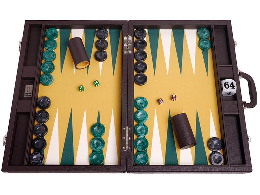 Wycliffe Brothers 21-inch Tournament Backgammon Set - Brown Case with Mustard Field - Main Open Case