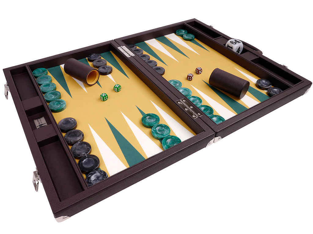 Wycliffe Brothers 21-inch Tournament Backgammon Set - Brown Case with Mustard Field - Angle View