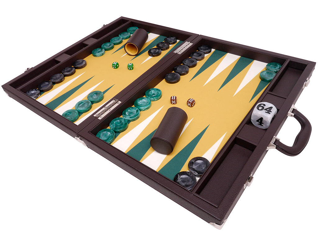 Wycliffe Brothers 21-inch Tournament Backgammon Set - Brown Case with Mustard Field - Angle View 2