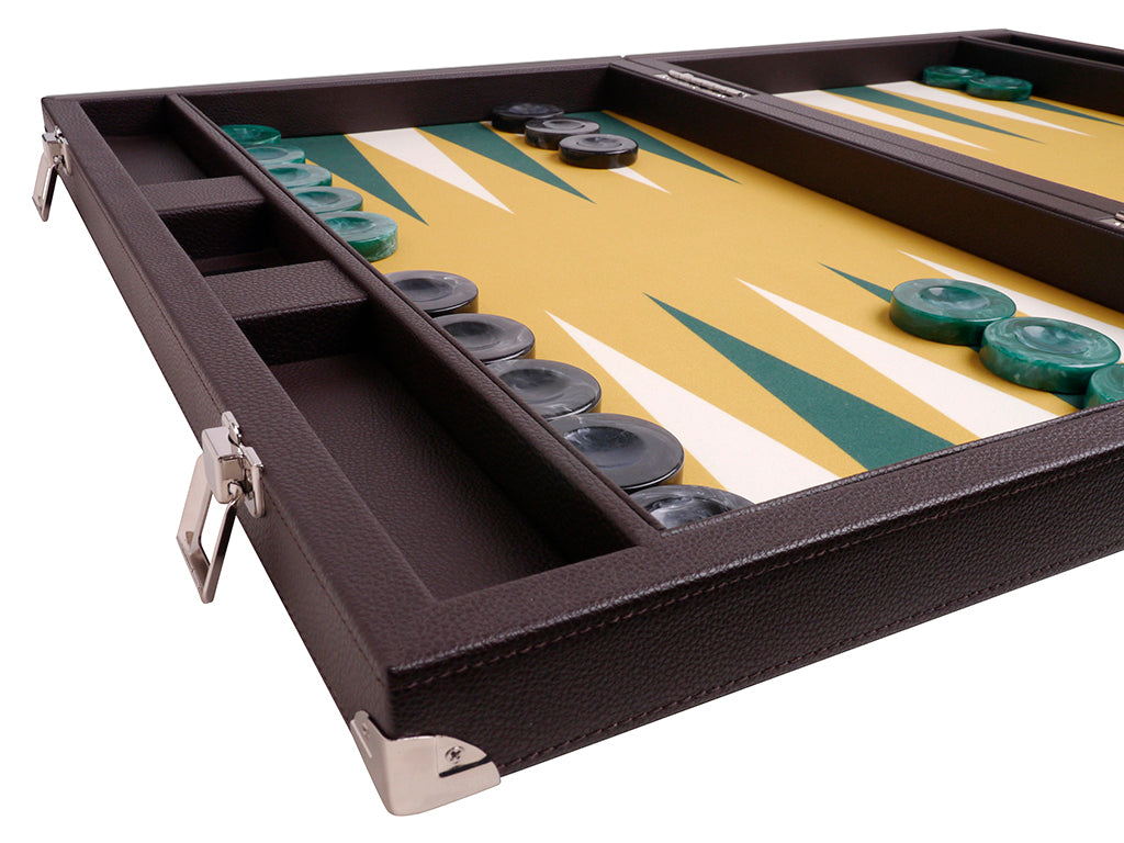 Wycliffe Brothers 21-inch Tournament Backgammon Set - Brown Case with Mustard Field - Angle View 3