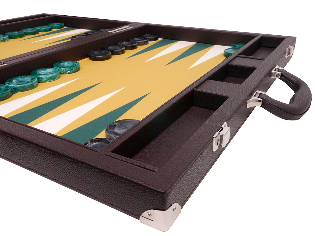 Wycliffe Brothers 21-inch Tournament Backgammon Set - Brown Case with Mustard Field - Angle View 4