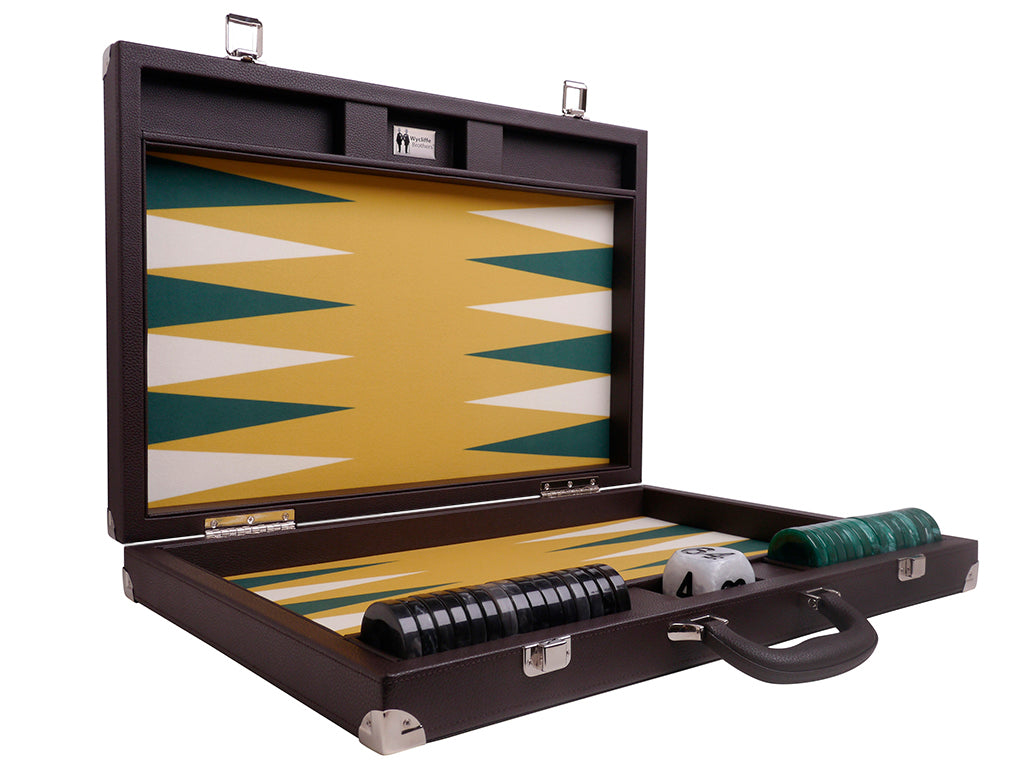 Wycliffe Brothers 21-inch Tournament Backgammon Set - Brown Case with Mustard Field - Attache Case