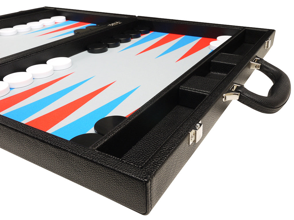 19-inch Premium Backgammon Set - Black Board with Scarlet Red and Patriot Blue Points - EUR - American-Wholesaler Inc.
