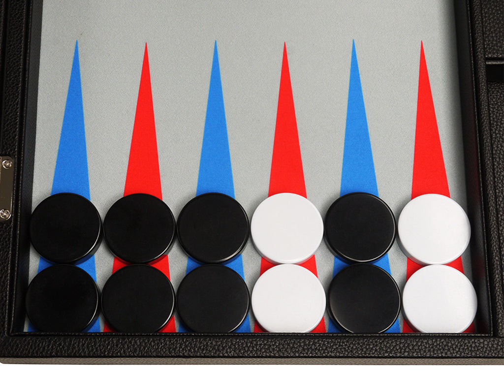 19-inch Premium Backgammon Set - Black Board with Scarlet Red and Patriot Blue Points - GBP - American-Wholesaler Inc.