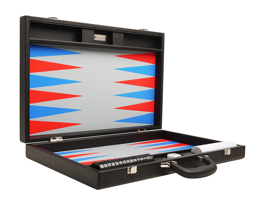 19-inch Premium Backgammon Set - Black Board with Scarlet Red and Patriot Blue Points - American-Wholesaler Inc.