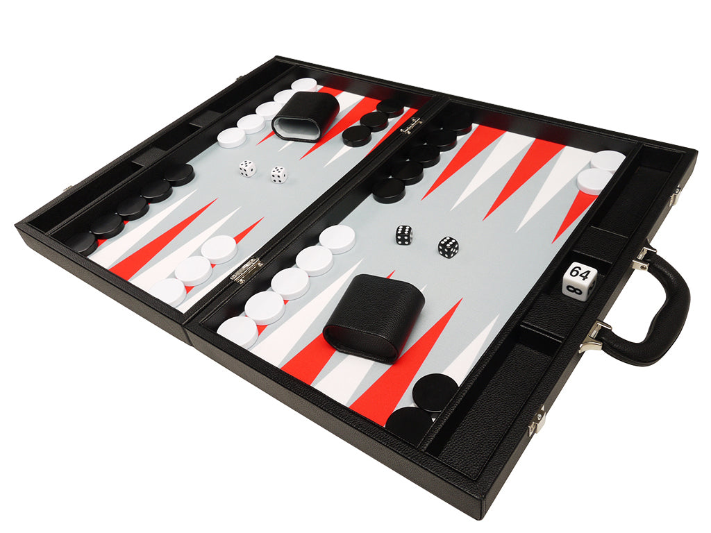 19-inch Premium Backgammon Set - Black Board with White and Scarlet Red Points - American-Wholesaler Inc.