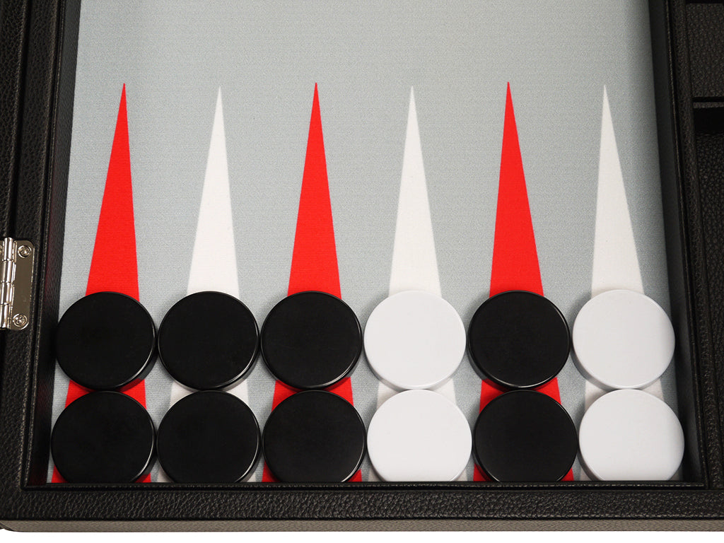 19-inch Premium Backgammon Set - Black Board with White and Scarlet Red Points - GBP - American-Wholesaler Inc.