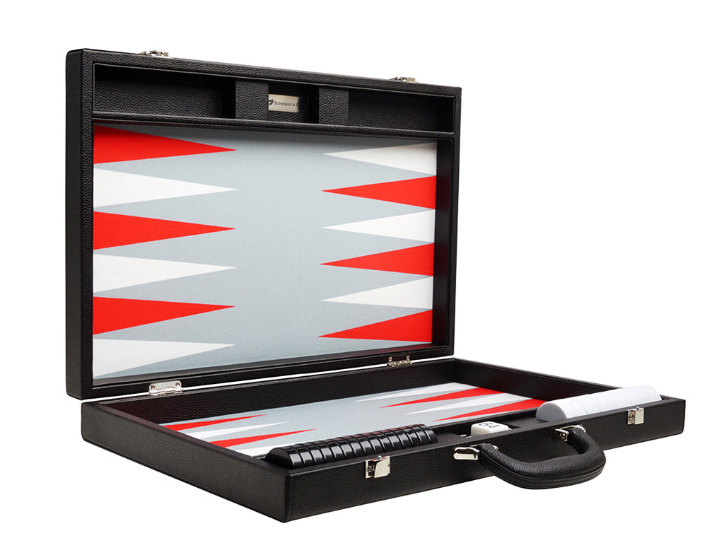 19-inch Premium Backgammon Set - Black Board with White and Scarlet Red Points - Open Case