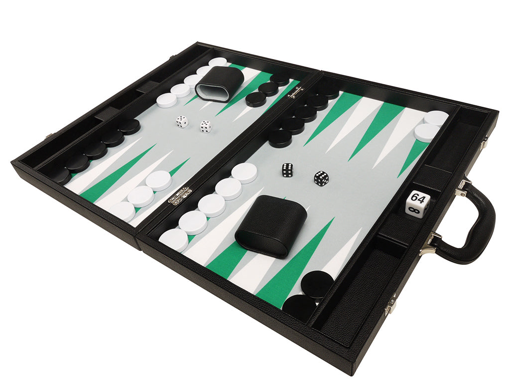 19-inch Premium Backgammon Set - Black Board with White and Green Points - EUR - American-Wholesaler Inc.