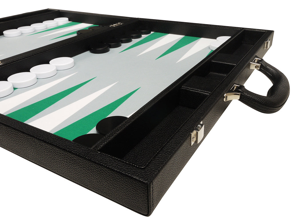19-inch Premium Backgammon Set - Black Board with White and Green Points - GBP - American-Wholesaler Inc.