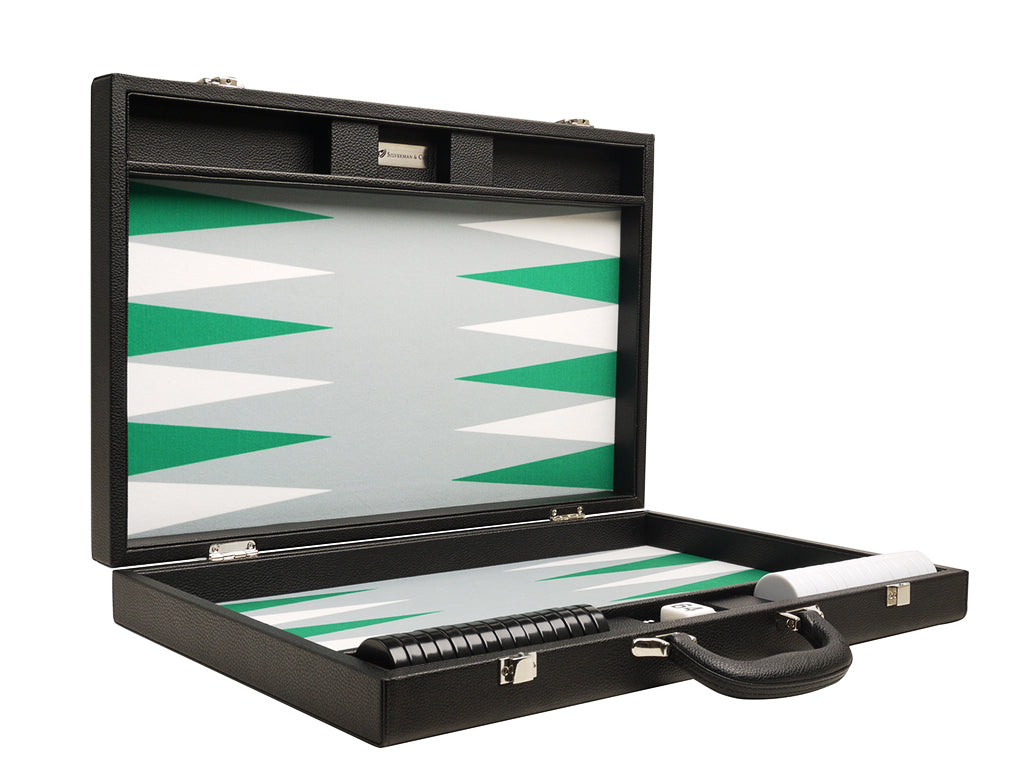 19-inch Premium Backgammon Set - Black Board with White and Green Points - American-Wholesaler Inc.