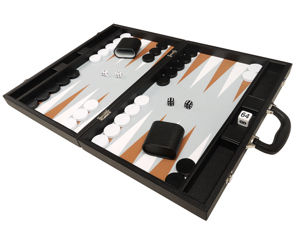 19-inch Premium Backgammon Set - Black Board with White and Rum Points - Open board