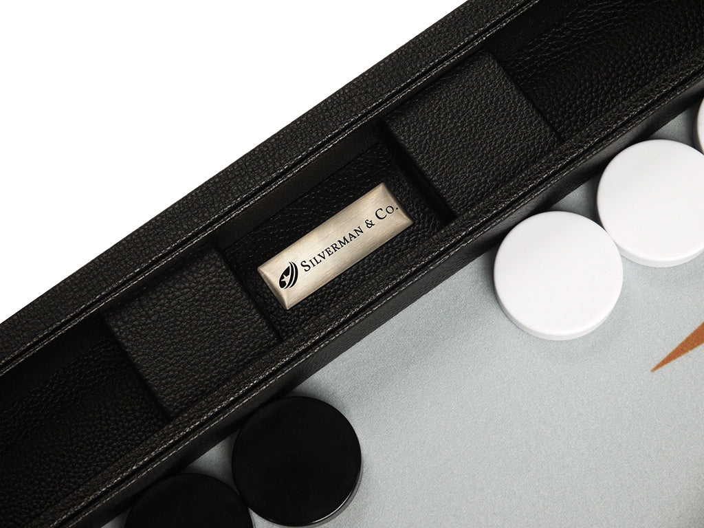 19-inch Premium Backgammon Set - Black Board with White and Rum Points - Silverman & Co