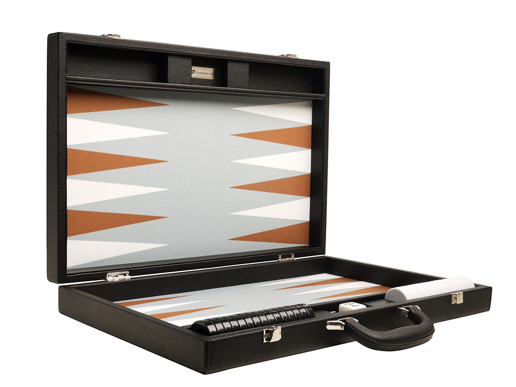 19-inch Premium Backgammon Set - Black Board with White and Rum Points - American-Wholesaler Inc.