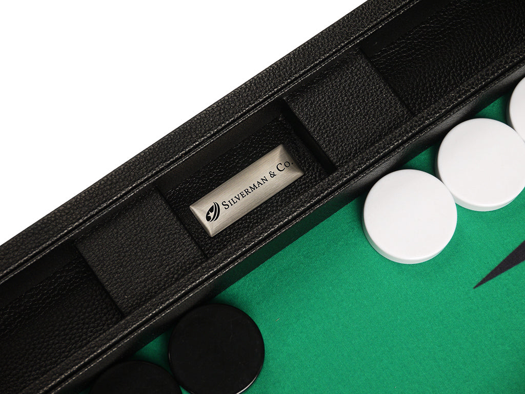 19-inch Premium Backgammon Set - Black Board with White and Black Points - American-Wholesaler Inc.